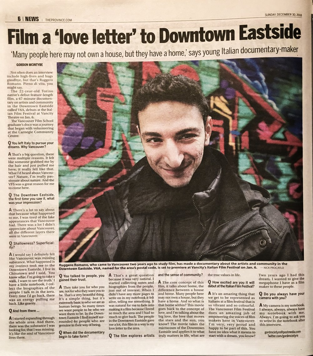 """""""Film a love letter to the downtown eastside"""" -"""