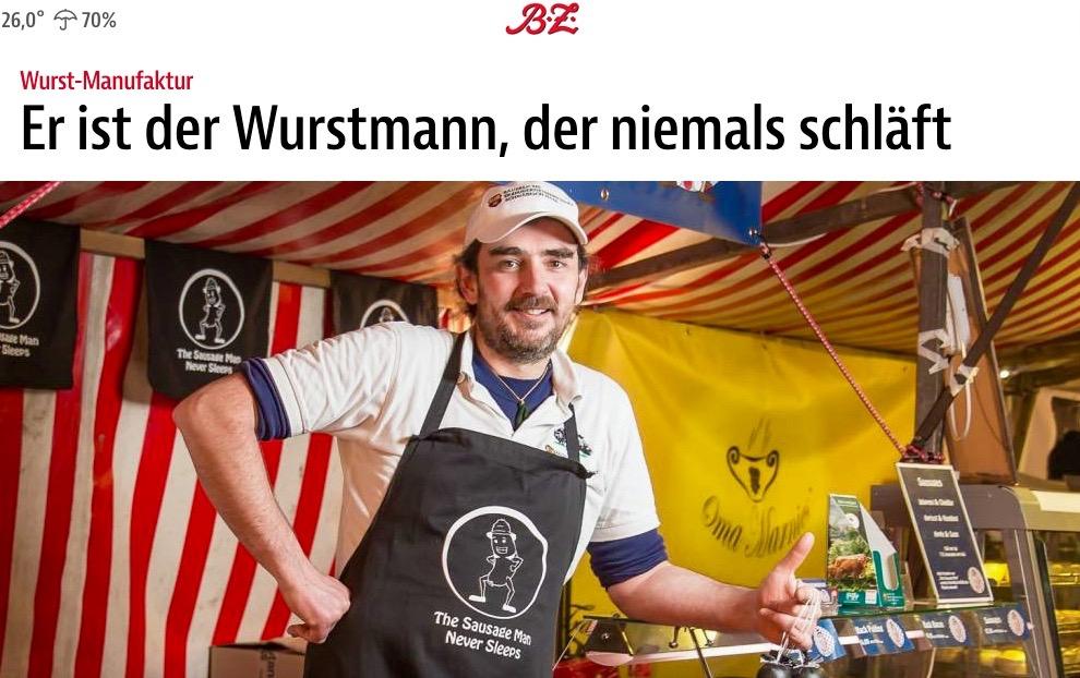 Er ist der Wurstmann, der niemals schläft in BZ Berlin, January 2015