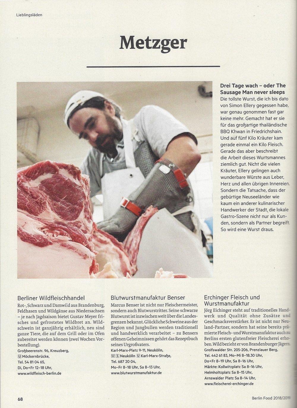 The Sausage Man Never Sleeps Simon Ellery in Berlin Food 2018/19 Magazine