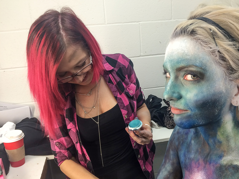 Tora the MUA working on a galaxy bodypaint