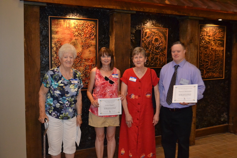 Pictured: Lucy Suhr, winner of the Helen Ireland Hays Memorial Award for Watercolor; Linda Biggers, honorable mention for the Mary Cleland Art Award; Linda Kollar, winner of the Mary Cleland Art Award; and Francis Dempsey, winner of the Frank Nigra Memorial Art Award.