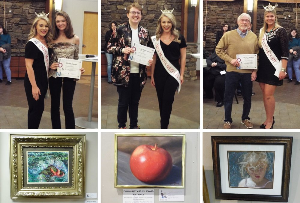 "The public opening reception for the 2018 Fulton Montgomery Art Show was attended by Miss Fulton County Chelsea Cirillo and Miss Montgomery County Sara James, who presented the awards to the winners. Pictured, clockwise from top left, are Melissa Ellis with Sara James; Katelyn Frisch with Sara James; Paul Steenburgh with Chelsea Cirillo; ""Avery"" by Paul Steenburgh;   ""Ceci N'est pas une Pomme"" by Katelyn Frisch; and ""Sea Salt"" by Melissa Ellis."
