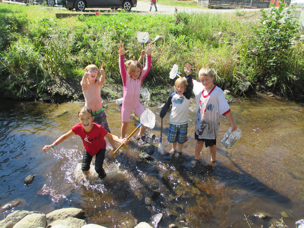 Woodland students enjoy the hot fall weather in the brook!  Welcome back, everyone!