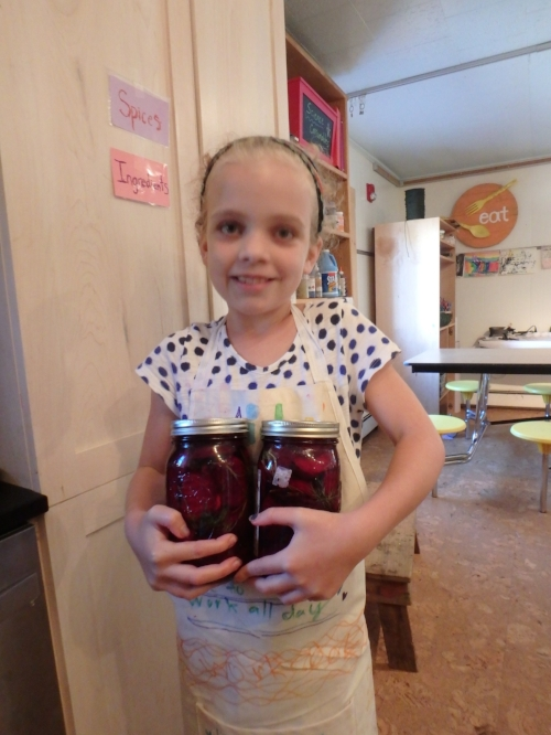 Aida with a couple of jars of fermented beets