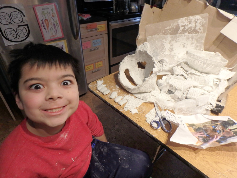 Journey - Tyler works on finishing the plaster mask he has been working on steadily now for at least two weeks!