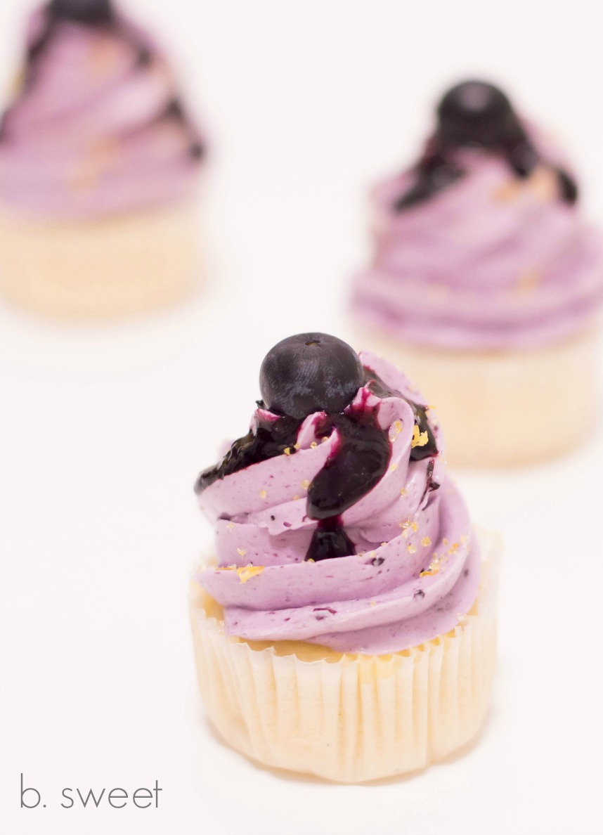 Lemon Blueberry Mini Cupcakes with Lemon Curd and Blueberry Swiss Meringue Buttercream