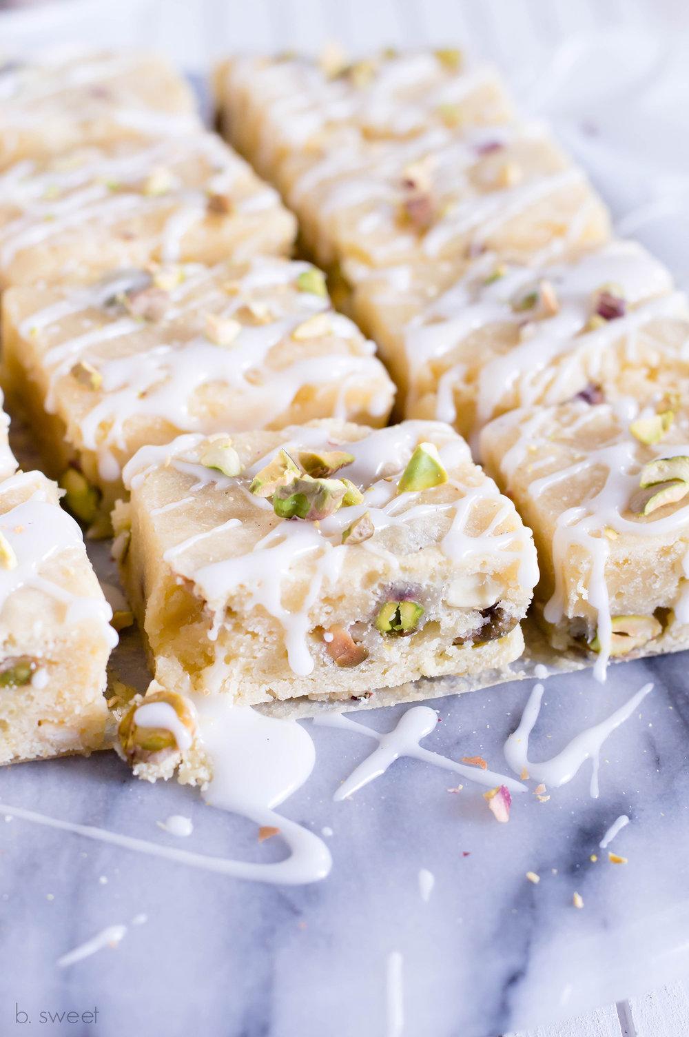 Lemon Pistachio Blondies - b. sweet
