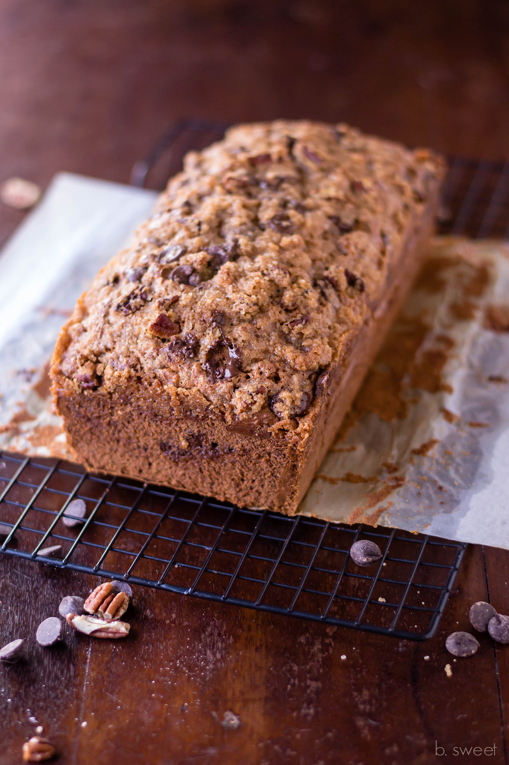 Brown Butter Banana Bread with Chocolate Pecan Streusel  - b. sweet