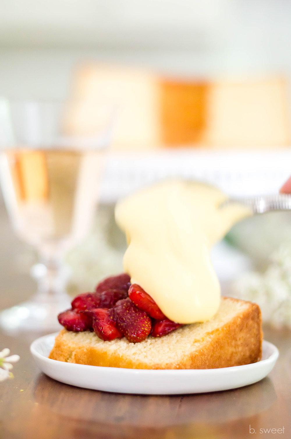 Lemon Pound Cake with Roasted Strawberries and Rosé Sabayon - b. sweet