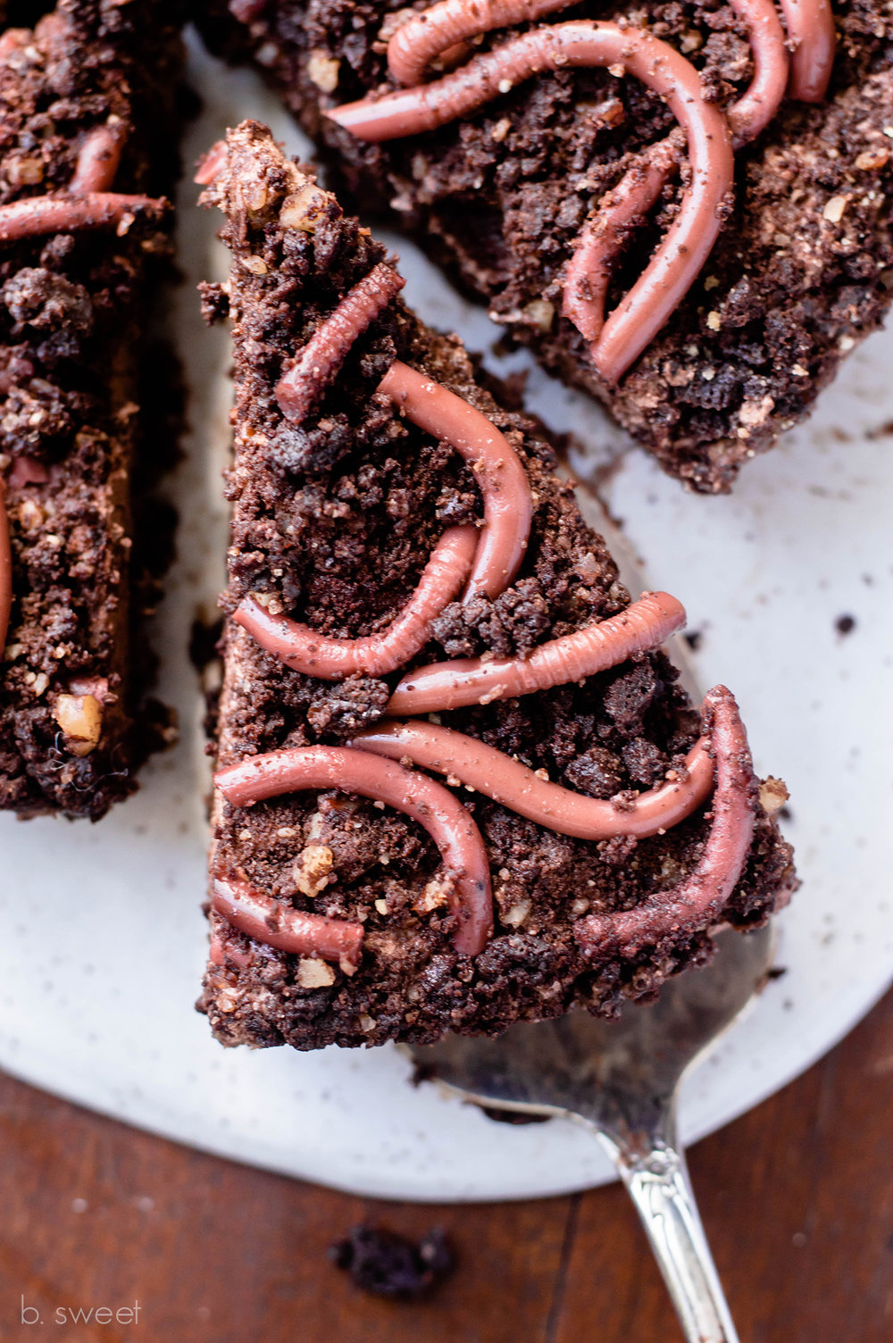 "Dark Chocolate Pecan ""Worms in Dirt"" Mousse Tart"