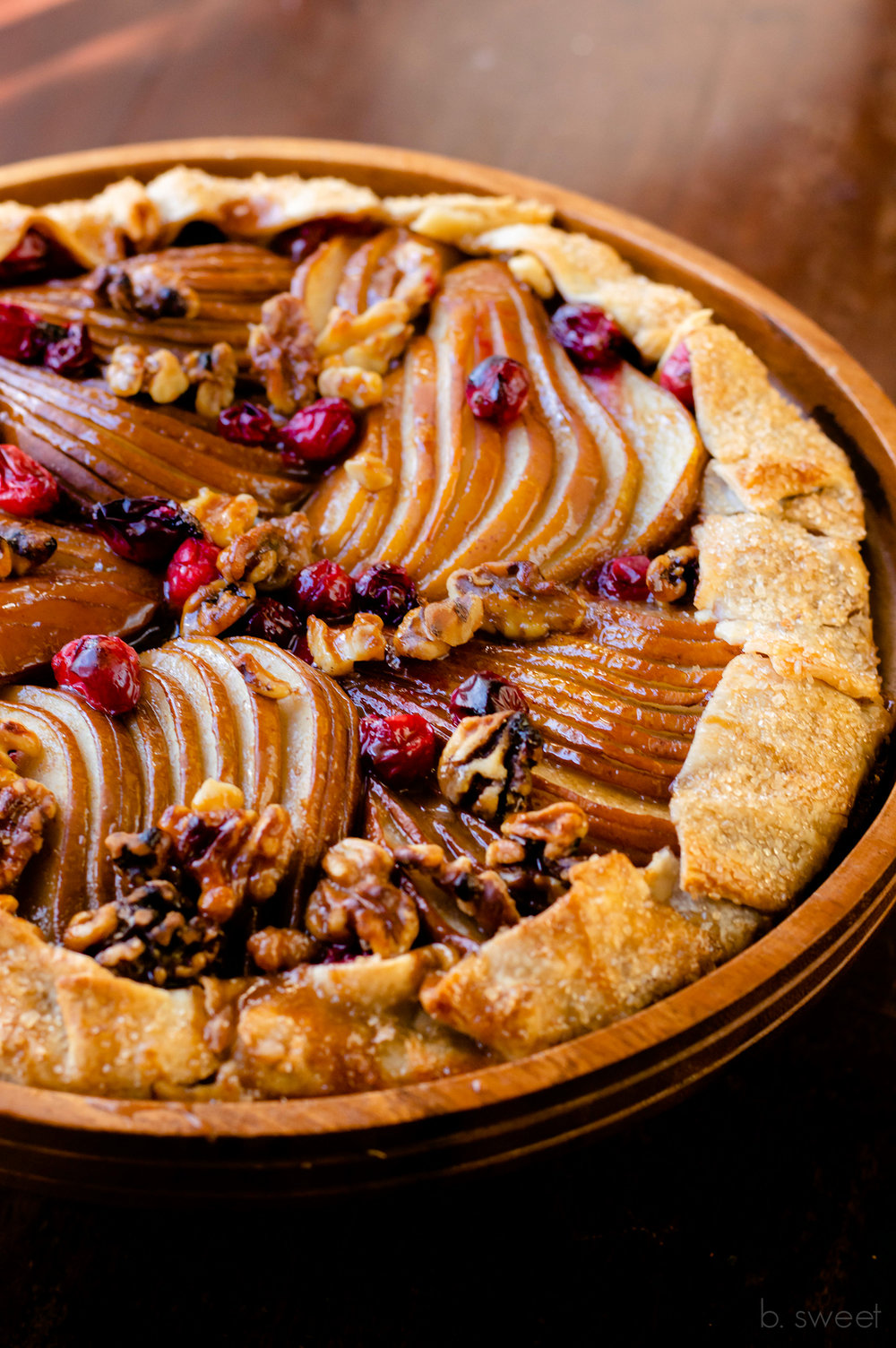 Spiced Caramel Pear Galette with Walnuts and Cranberries - b. sweet