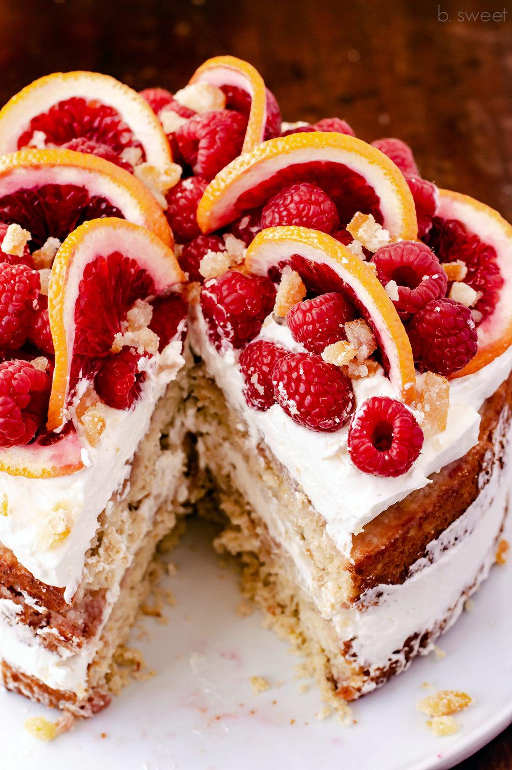Whole Blood Orange Cake with Raspberries and Whipped Vanilla Bean Mascarpone  - b. sweet