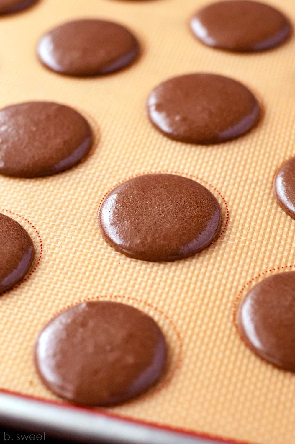Dark Chocolate Almond Macarons - b. sweet