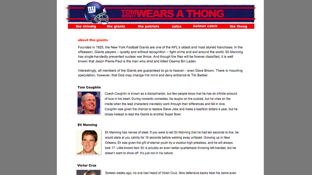 When the Giants met the Pats in the 2011 Super Bowl, I had a party. So I threw together a funny site to invite people. If you like the Pats, you won't like the site.