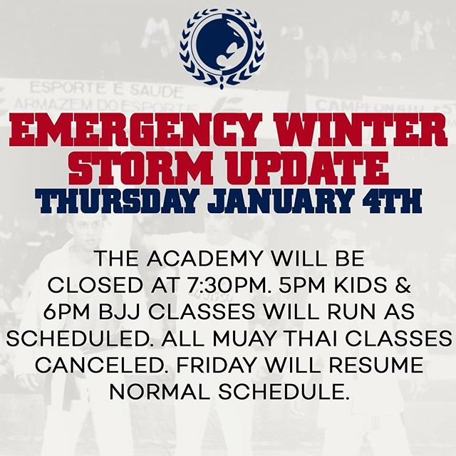 DUE TO THE WINTER STORM AND ROLLBACK OF MTA SERVICES.THERE WILL BE 5PM KIDS BJJ & 6PM ADULT BJJ CLASSES. THERE WILL BE NO MUAY THAI CLASSES. FRIDAY WILL RESUME NORMAL SCHEDULE. #BJJ #Graciejiujitsu #teamrenzogracie #renzogracie #renzoknows #nyc #jiujitsuproblems @renzograciebjj @rgmtnyc @igorgracie @rollesgracie @zercosta @gregorgracie @harleyfflanagan