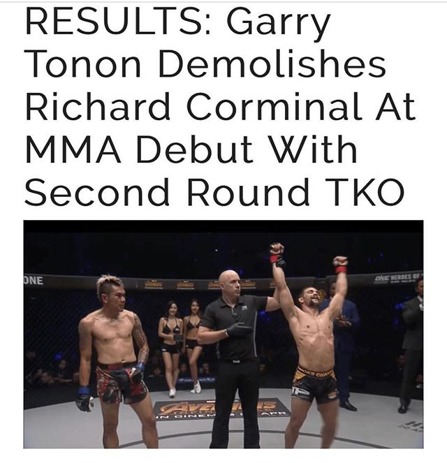#congratulations to our very own @garrytonon for representing #team @renzograciebjj and not only winning his first #MMA #Fight but by #TKO and not by #submission as everyone would expect. #submit #byanymeansnecessary #teamrenzogracie #renzogracie #valetudo #onechampionship #graciejiujitsu