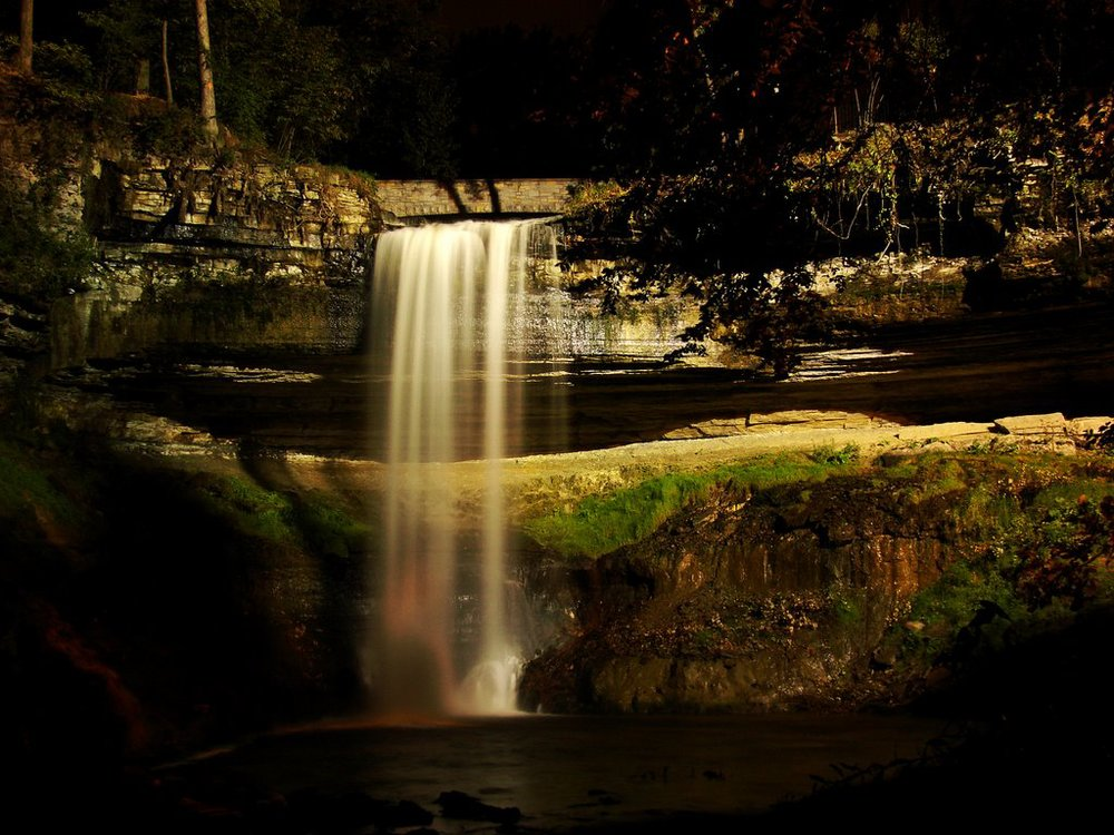 Minnehaha Falls  One of many views, this one at night.