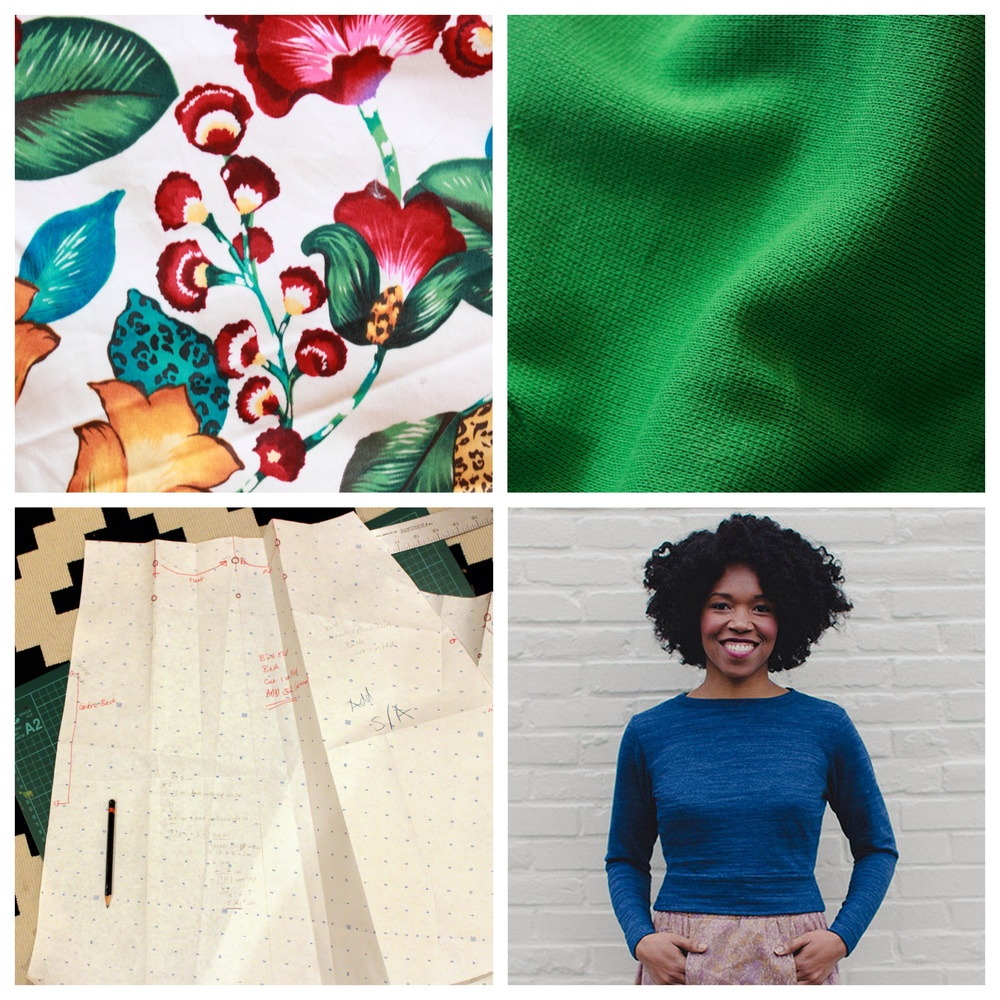 Clockwise from top left: floral stretch cotton, bright green cotton ponte, Astoria Sweater, skirt drafting.