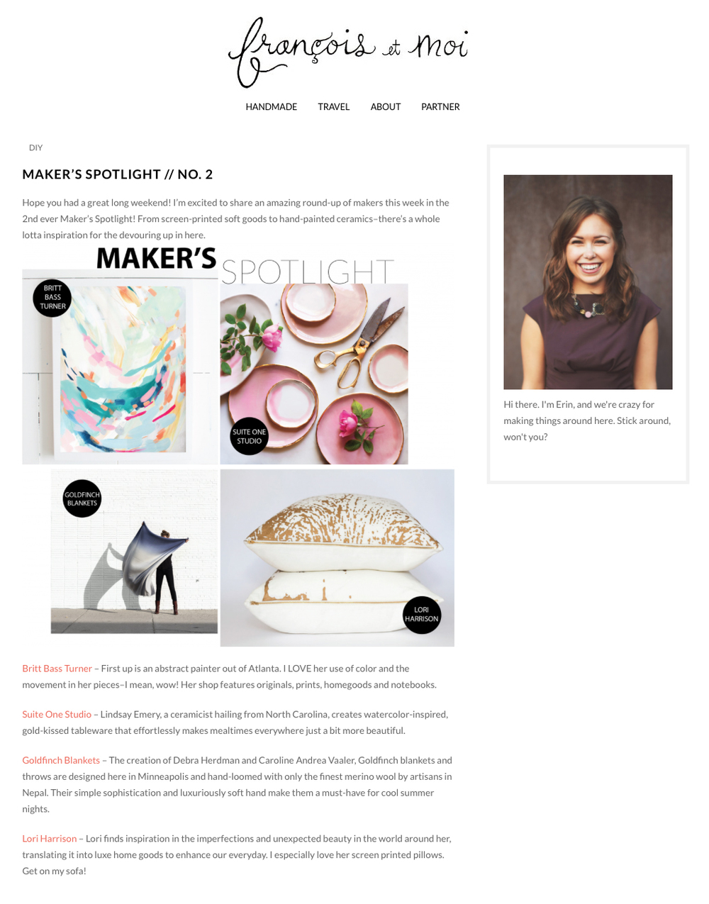 Featured on Francois et Moi Blog, Spring 2015
