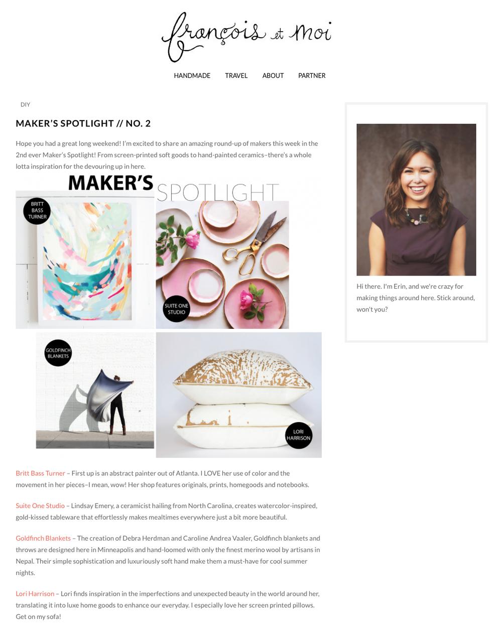 Featured on Francois et Moi Blog, Spring 2015