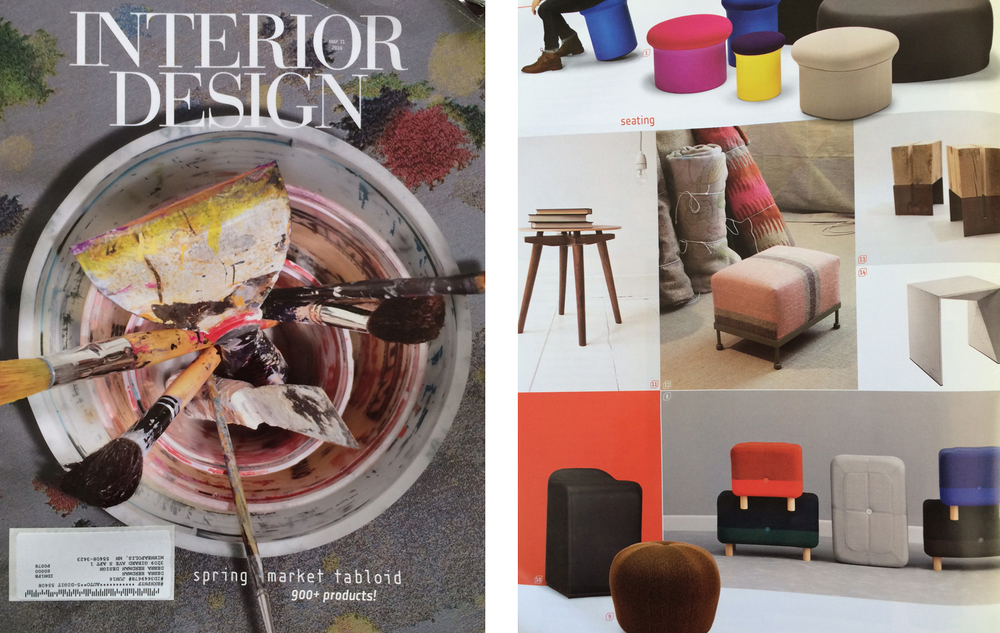 Bravo! Otto G.   Our Otto G. ottoman, upholstered in Namibia linen stripe, is pictured in the new Interior Design Spring Market Tabloid. We are thrilled!