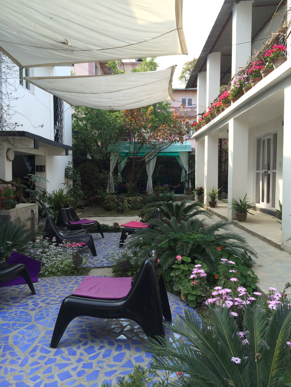 Debra travels to Nepal to work with the weavers and stays at the lovely Ting Tea House. Their garden is a quiet oasis amidst the chaos that is Kathmandu.