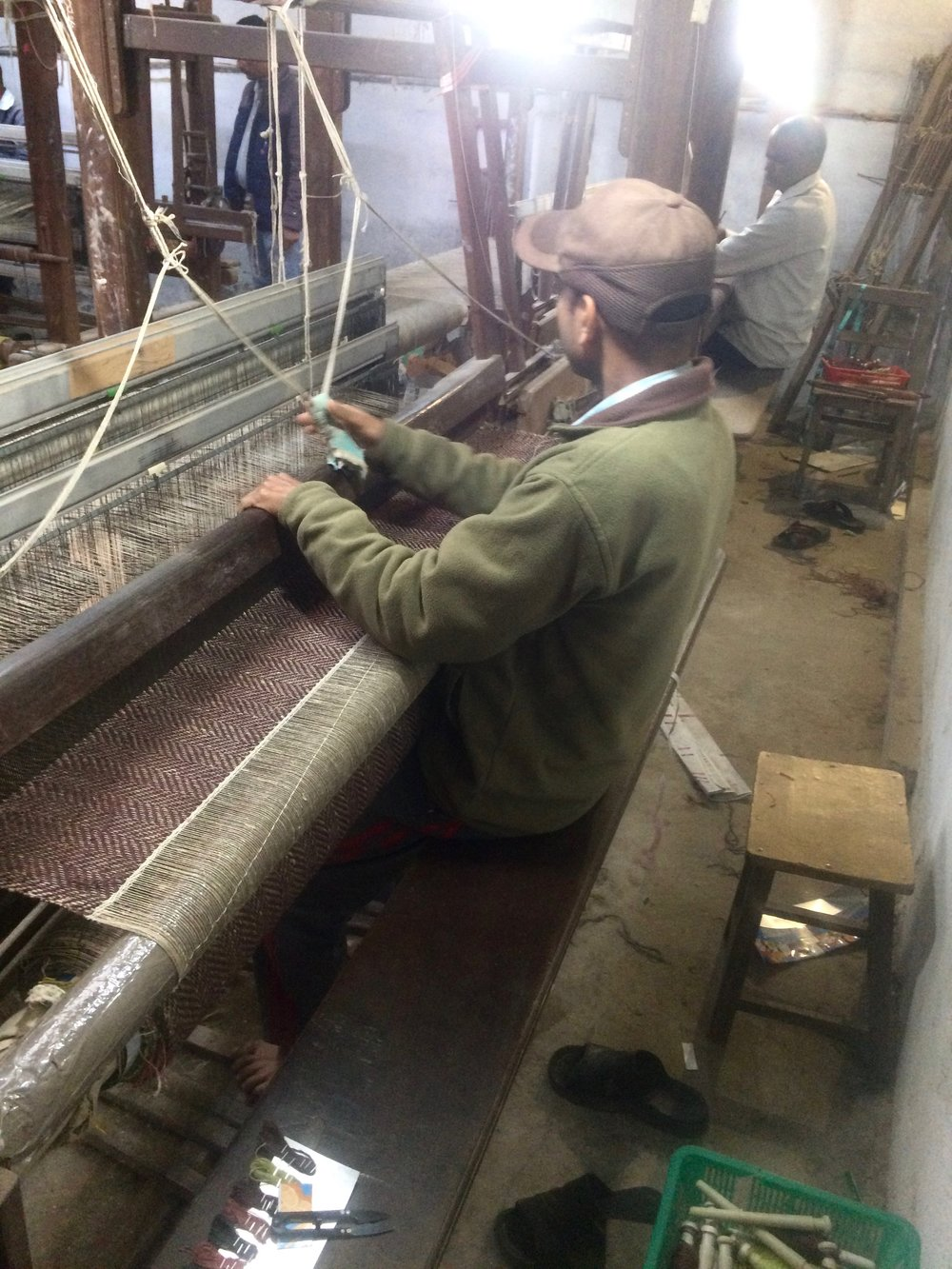 Weavers starting their day on the looms