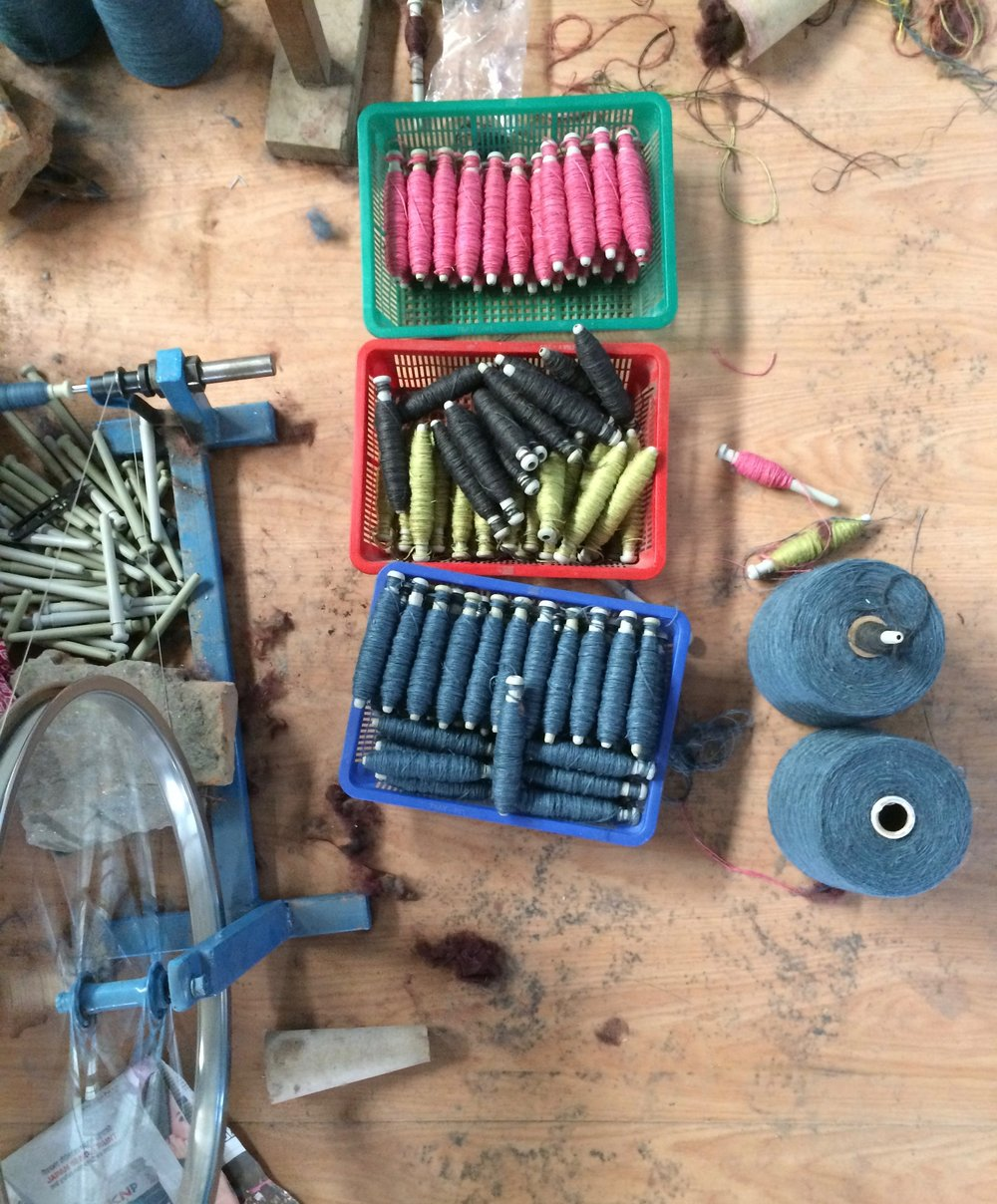 Bobbins ready for weaving