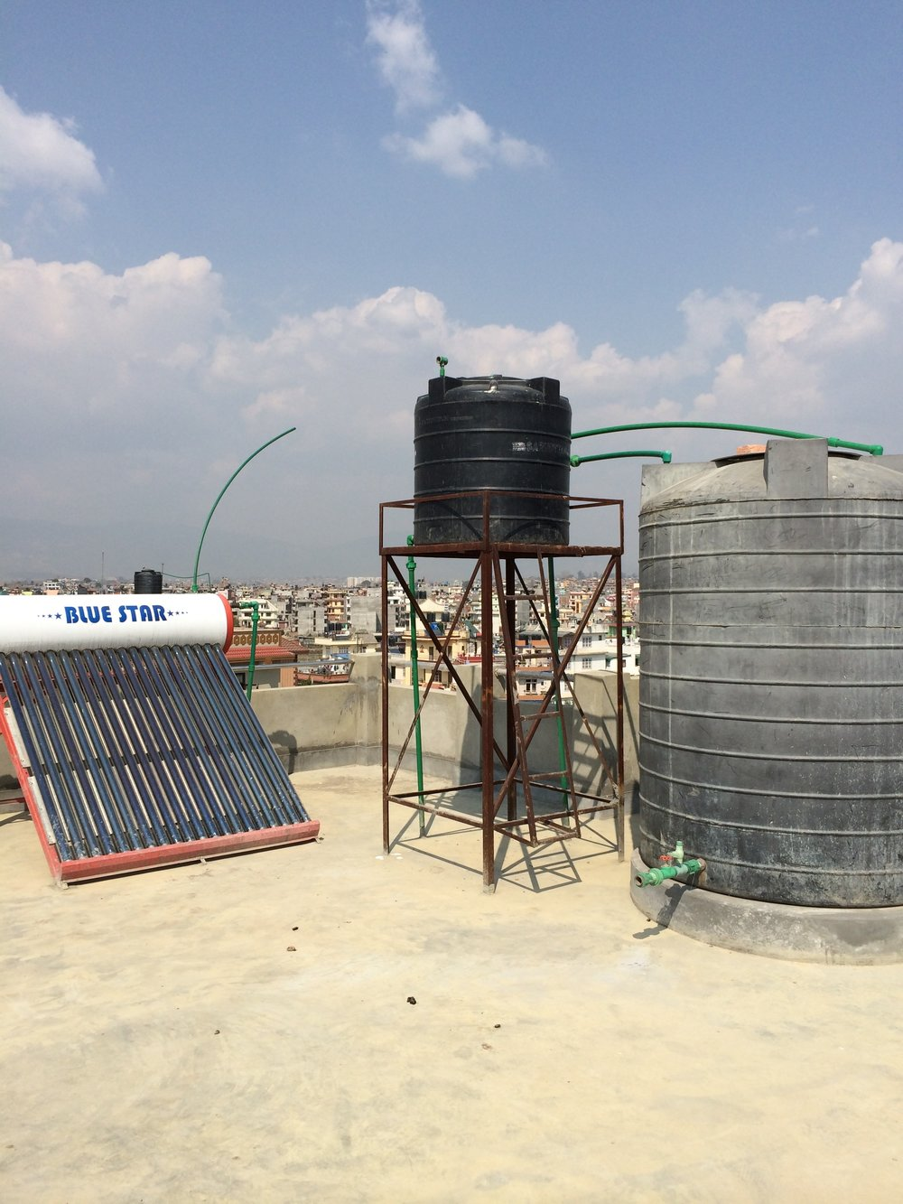 A new rooftop solar system collects the Nepali sun to produce hot water