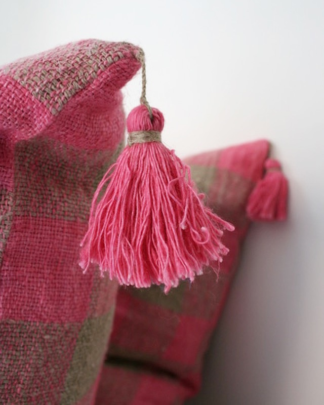 linen tassels on Gingham Pillows