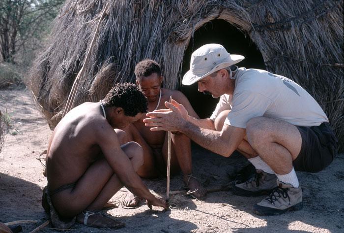 Frank with Kalahari bushmen in Southern Africa