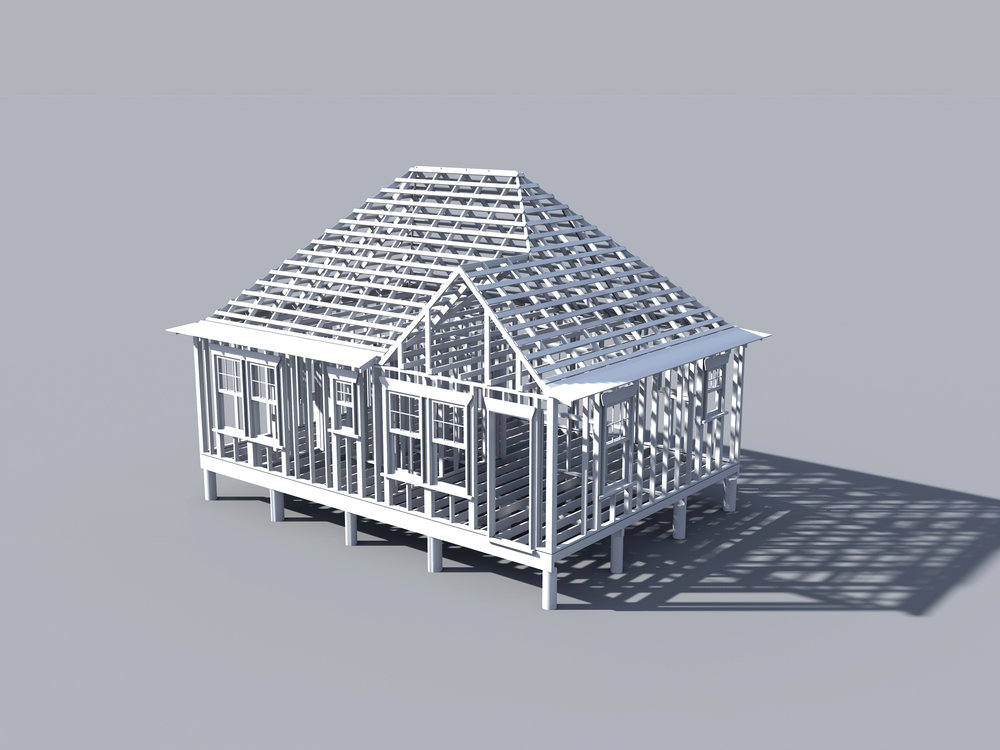 Digital model of original framing layout.