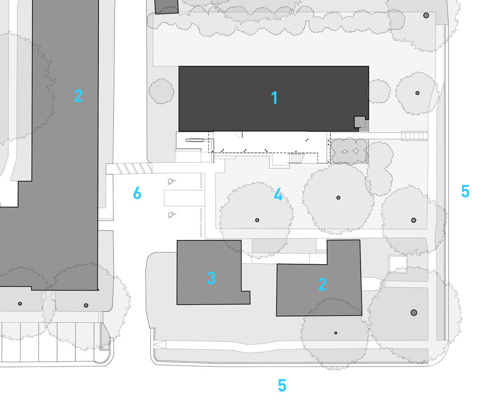 Site Plan 1. New Building 2 ,3 Existing Buildings 4. Courtyard 5. Street 6. Alley