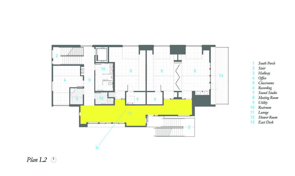 Second Floor Plan showing wide Hallway/Lounge Area