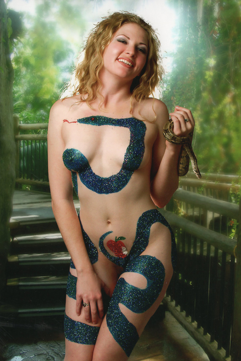 Body painting.  Adam and Eve.  Snake.