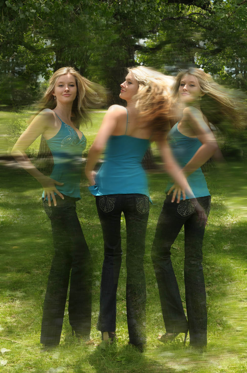 Multiple exposure jeans fashion photo