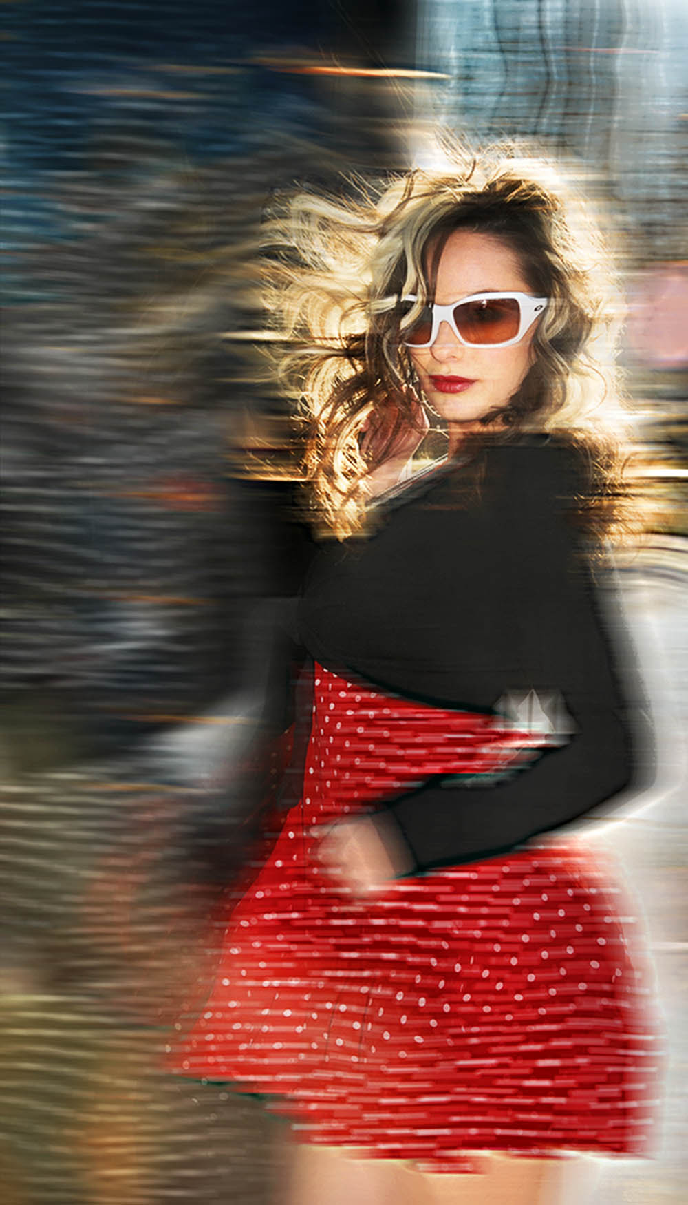 Red dress wind in motion