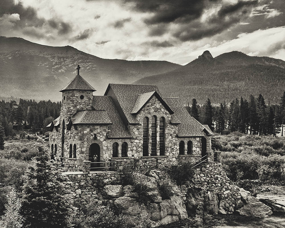 Beautiful fine art architectural image on black and white film.  4x5 large format picture.