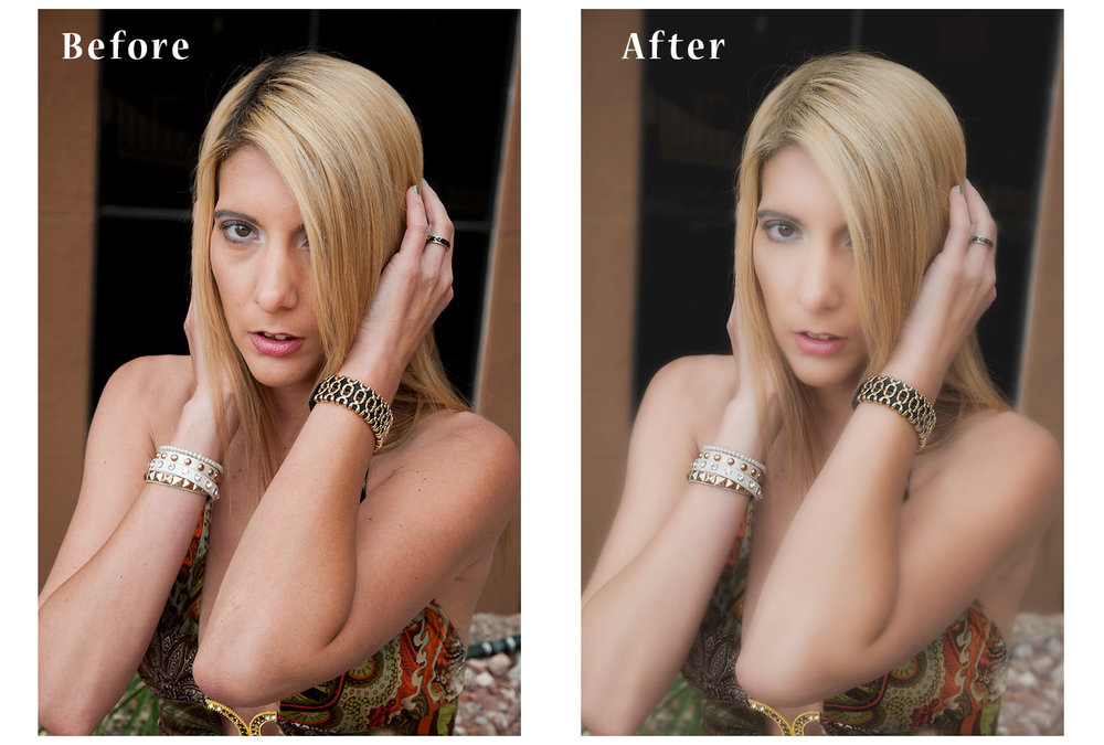 Here is a before and after glamour photograph with retouching and soft focus. It could be adjusted for effect from almost unnoticeable to quite strong. The client preferred the softer version. There were other photos taken with less effect and different poses for Linkedin and business use.