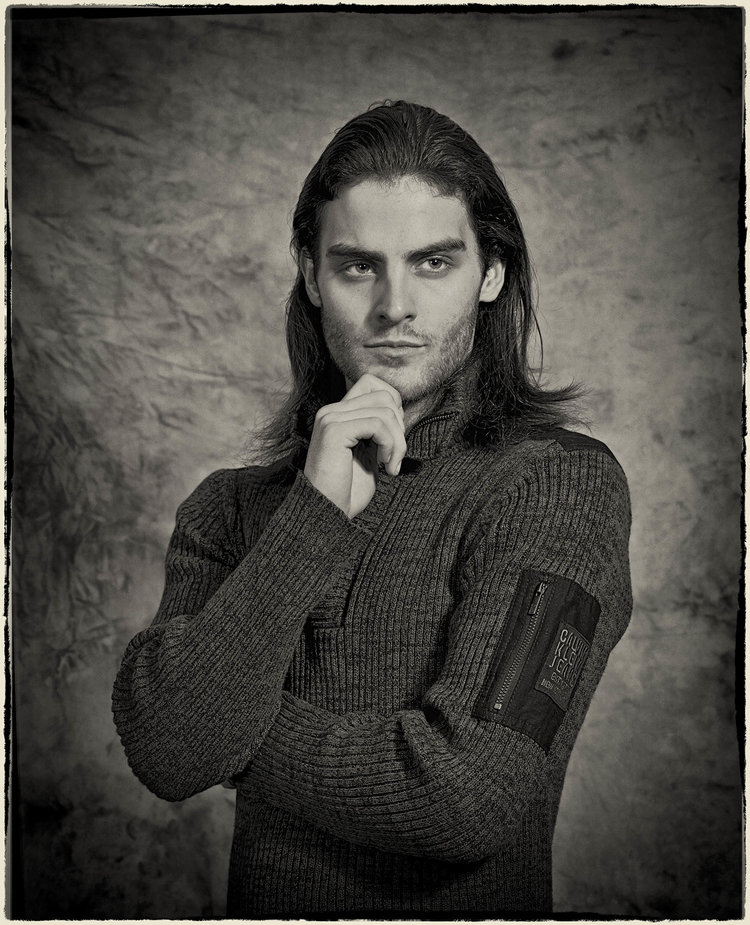 Classic headshot of male model taken with 4x5 film camera