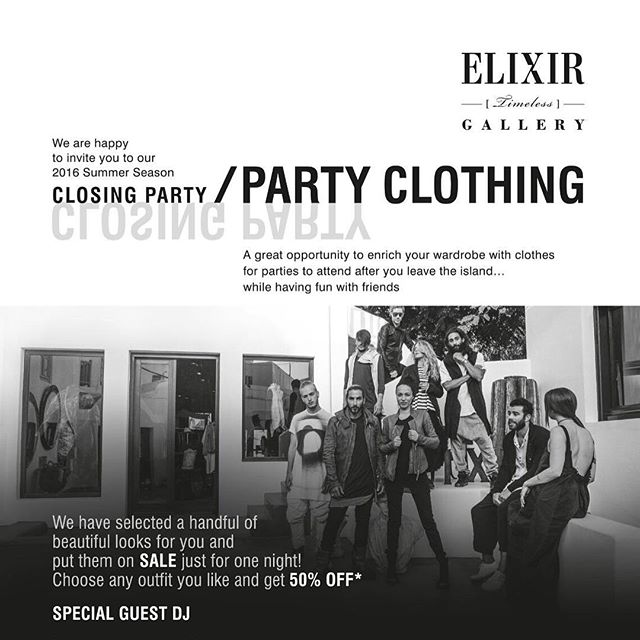 Find us at the @elixir_timeless_gallery 'Party Clothing' in #Mykonos tonight 🍷 #MinuitRoseMoment