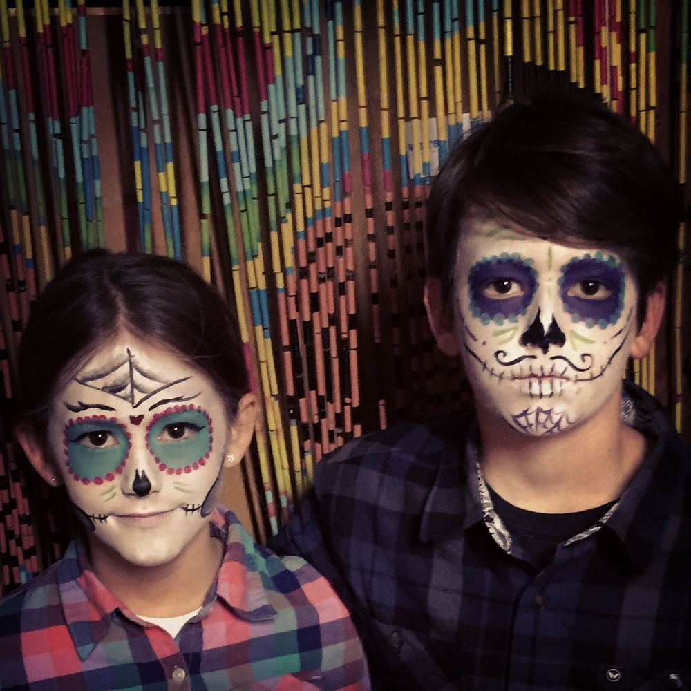 Sweet Lu and  Henry, looking serious in dia de los muertos faceprint!!