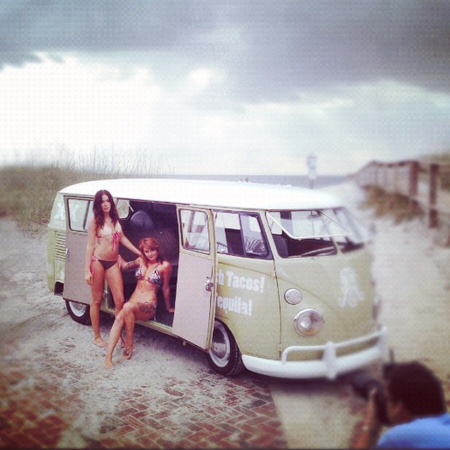 #tbt to the time the beautiful @shammyshank and @jennnnnmax modeled for the @voidlive swimsuit issue with the ORIGINAL #banginbus! (Miss you @paulfiguraphoto)  We have a very busy week coming up, make sure to catch up with the Bangin Bus while we are out here!  12/15 - Beach Marine, 2315 Beach Blvd 32250, 11a-2p  12/18 - @Everbankfield, 1 Everbank Field Dr 32202, @jaguars Ultimate Tailgate Party, 5p-Kick Off  12/19 - Fanatics at SouthPoint, 6800 SouthPoint Dr 32216, 11a-2p  12/20 - Nocatee Farmer's and Arts, 245 Nocatee Center Way 32081, 10a-2p  #jaxfoodtrucks #tacolu #foodtrucks #voidlive #farmersmarket #nocatee #jaguars #churros
