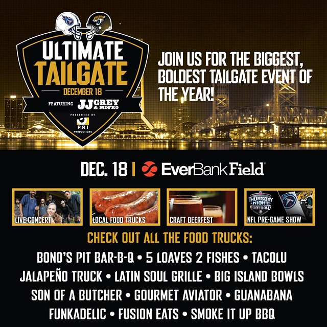 J-A-G-U-A-R-S! JAGUARS!!! Come see us at @everbankfield TONIGHT before the game for the @jaguars ULTIMATE TAILGATE PARTY 5p- kickoff!! #blackandteal #dtwd #jaguars #tealstreethooligans #boldcitybrigade #banginbus #whoislu #duval #tacolu #nfl #cbs #eatunited