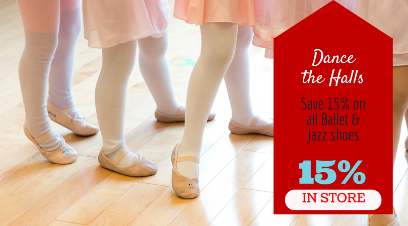 THE FINE PRINT: This deal is valid for all Ballet shoes, Jazz shoes and foot undies only in both Adult and Youth sizes. In Studio only. While sizes and supplies last.