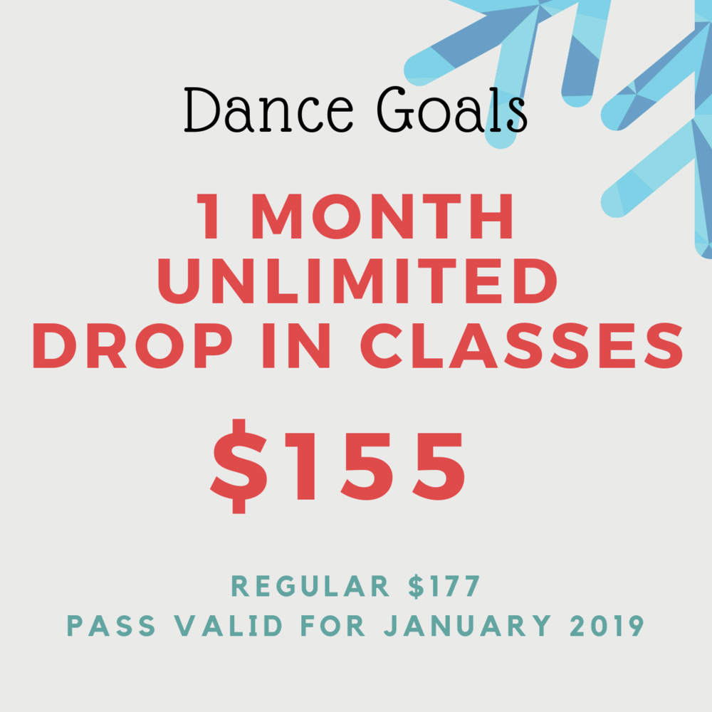 Don't let the holidays slow you down. Take on 2019. Pass is valid for all Drop In classes from January 1 - 31, 2019. No extensions, refunds or credits.