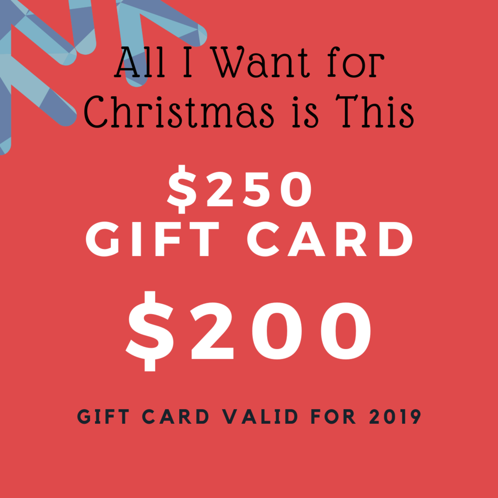 Spend $200 and get $250 to be used towards any service or product. Gift card can only be activated starting January 1, 2019.