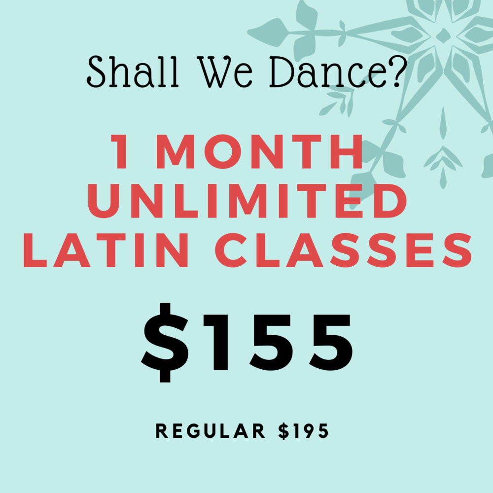 Save $40 with this unlimited pass valid for all Salsa, Argentine Tango and Bachata classes. Pass is valid from January 1 to January 31, 2019.