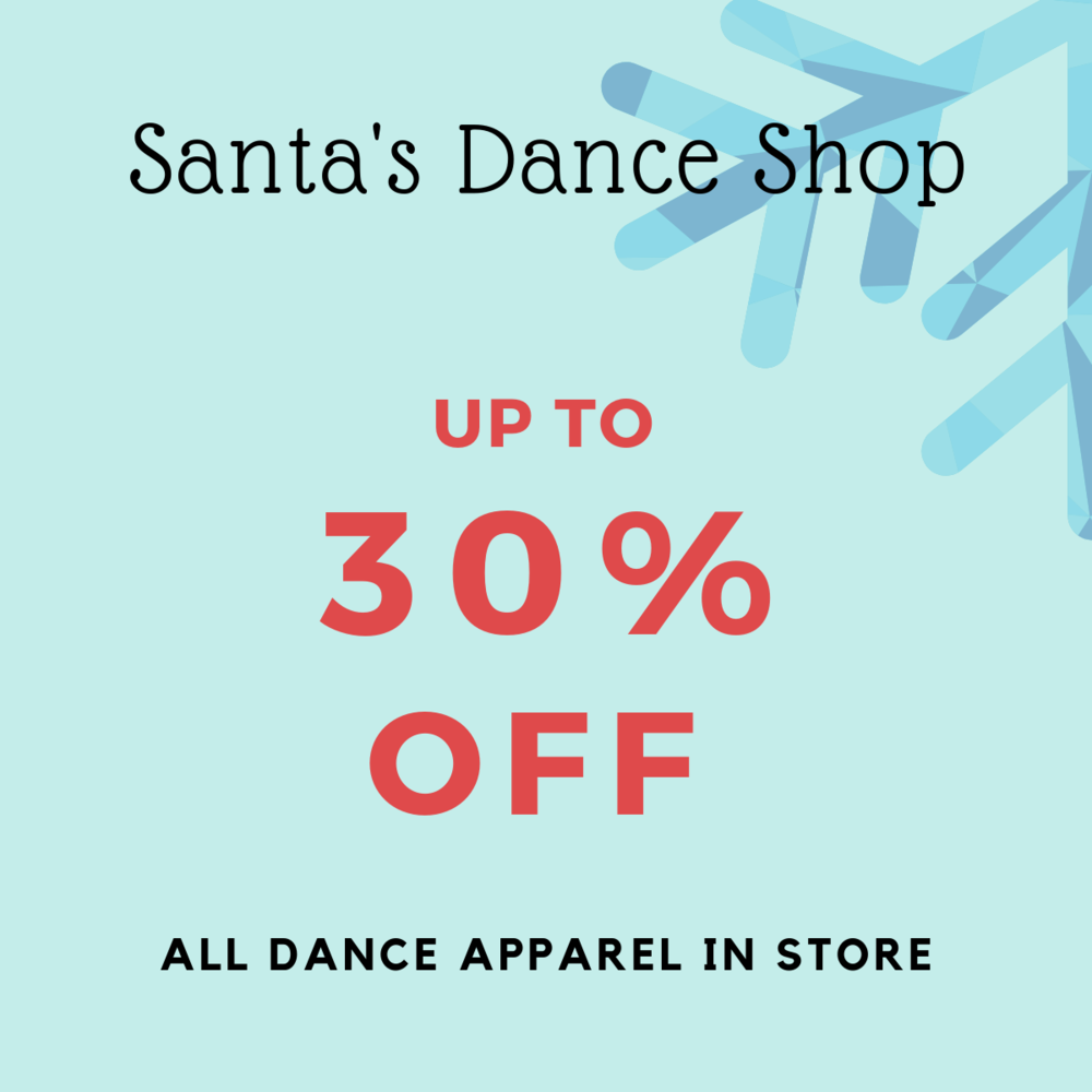 Get decked out in the right gear that will have you moving with confidence and style. Everything from Ballet slippers to sweatpants are on sale. In store only and while quantities last.