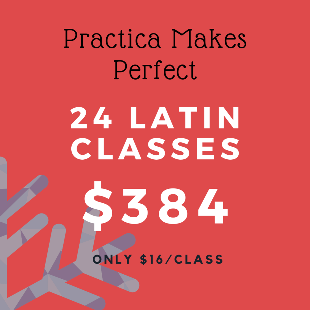 Commit to perfecting your technique with our mega Latin class pass. This pass is valid from January 1, 2019 - June 30, 2019. No extensions, credits or refunds after expiry date. Pass can be use towards all Salsa, Argentine Tango and Bachata classes. Pass in not transferable.